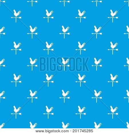 Weather vane with cock pattern repeat seamless in blue color for any design. Vector geometric illustration