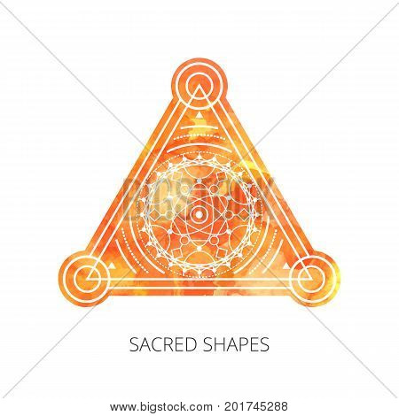 Sacred forms on background of orange watercolor. Backdrop under clipping mask . Vector