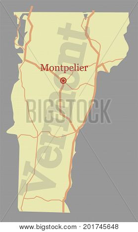 Vermont vector accurate high detailed State Map with Community Assistance and Activates Icons Original pastel Illustration