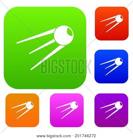 Sputnik set icon in different colors isolated vector illustration. Premium collection