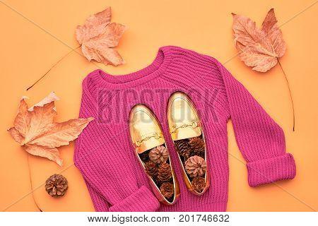 Fall Fashion Woman Clothes Set. Minimal Design.Trendy Pink Sweater. Fashion Stylish Glamour Shoes. Yellow Fall Leaves.