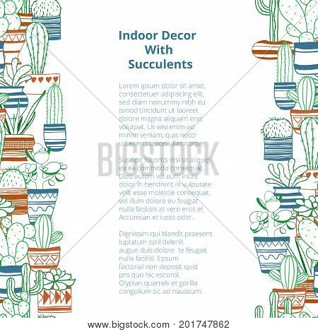 Seamless vertical rows with colored contours succulents . Vector background