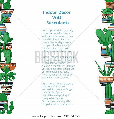 Seamless vertical rows with colored succulents . Vector background . Used clipping mask