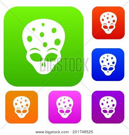 Extraterrestrial alien head set icon in different colors isolated vector illustration. Premium collection