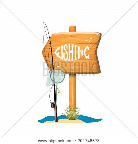 Wooden sign with motivational fishing inscription . Cartoon style illustration .Vector