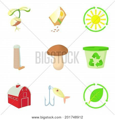 Sow icons set. Cartoon set of 9 sow vector icons for web isolated on white background