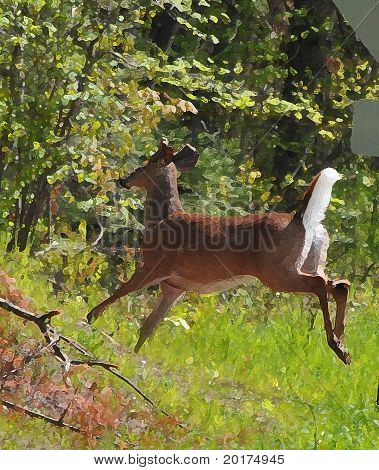 Jumping deer in woods painted effect