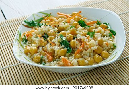 Curried Couscous Salad,  close up oriental meal