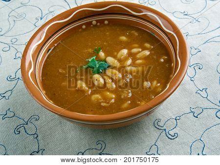 Bob chorba - national Bulgarian dish. close up meal