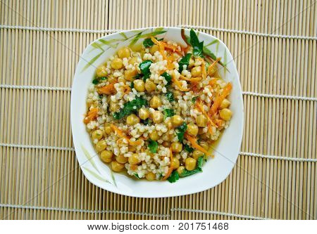 Curried Couscous Salad, close up healthy meal
