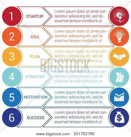 Startup bussines minimal infographic templates from circles and horizontal colorful arrows 6 positions