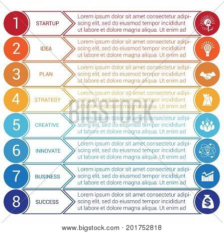 Startup bussines minimal infographic templates from circles and horizontal colorful arrows 8 positions