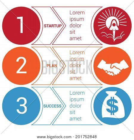 Startup bussines minimal infographic templates from circles and horizontal colorful arrows 3 positions