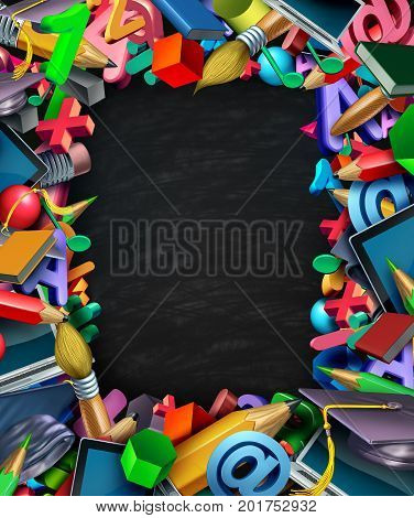 School supplies frame border black board background and learning tools as a computer tablet pencils and learning icons shaped in a framed design as a 3D illustration.