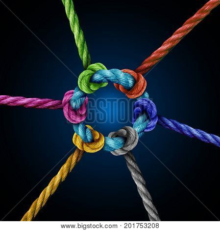 Center network connection business concept as a group of diverse ropes connected to a central circle rope as a network metaphor for connectivity and linking to a centralized support structure.