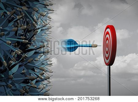 Business focus success as a group of lost darts and one skilled dart focused on a target goal as a precise determination metaphor as a 3D illustration.