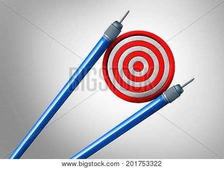 Asian business and strategy as an asia pacific trade concept and economic goal idea as darts shaped as chopsticks holding a target as a China Japan and Korea financial cooperation success as a 3D illustration.