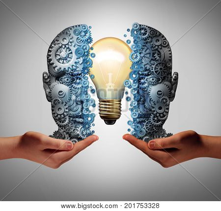 Artificial intelligence education and interactive machine learning solution concept as a head made of gears and cog wheels with a light bulb inside being held by human hands as a technology business success with 3D illustration elements.