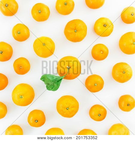 Mandarin on white background. Flat lay, top view