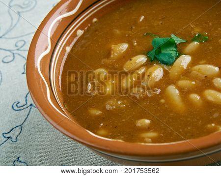 Bob chorba - national Bulgarian dish. , close up traditional meal