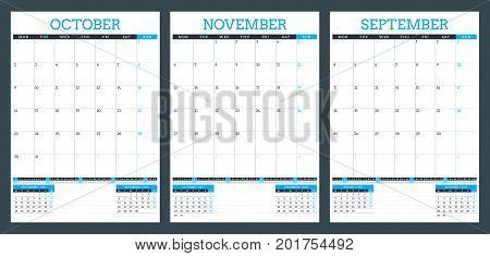 Calendar planner template for autumn 2017. September October November. Design print vector template