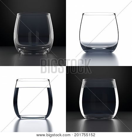Set of 2 empty and 2 full Water Glasses on black and white background. Drinking glassware. Graphic design element for flyer, restaurant menu, shop and sale poster. 3D illustration.