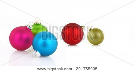 Variety of colorful christmas balls on white background
