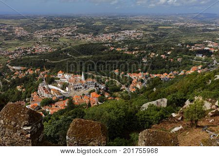 Aerial view of Sintra, Portugal from the Castle of the Moors. Since 1995, the cultural landscape of Sintra is listed as UNESCO World Heritage