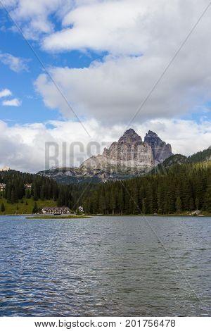 view of amazing Misurina lake in south Tirol, Italy