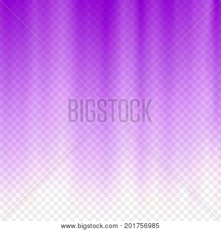 Purple flare rays. Violet vibrant color. Glaring effect with transparency. Abstract glowing light background. Ready to apply. Graphic element for document, template, poster, flyer. Vector illustration
