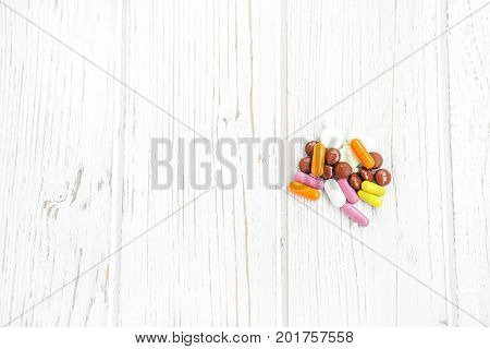 Many pills. Background. Copy space. The concept of colds illness treatment lifestyle.