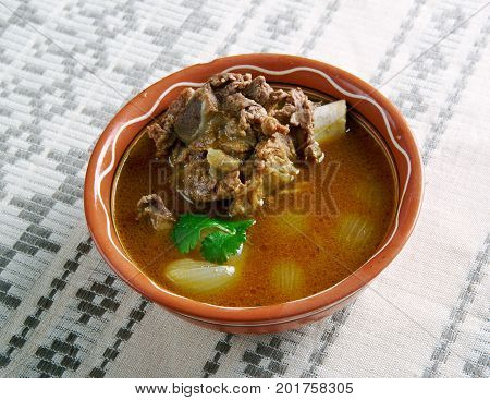 Mutton Paya - traditional South Asian food. cooked with various spices.