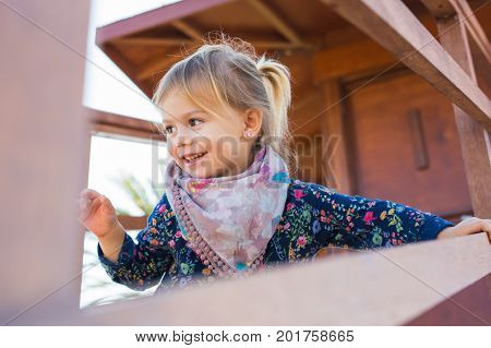 Portrait of a happy cute little girl. Childhood and baby concept