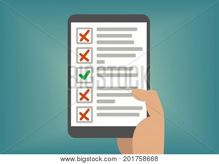 Digital checklist or todo-list displayed on tablet screen. Concept of failed exam or missed tasks.