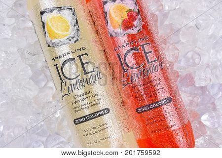 IRVINE CALIFORNIA - AUGUST 28 2017: Sparkling Ice Lemonade. From Talking Rain Beverage Company producers of flavored ice teas and lemonades in Preston Washington.
