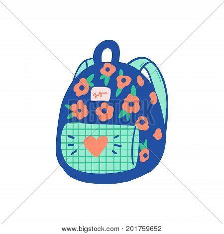 Vector School Backpack Illustration Element. Kids, Travel Rucksack Icon On White Background