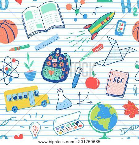 Back To School Seamless Pattern. Vector School Bus, Rocket, Globe, Backpack, Ball, Book, Chemistry,