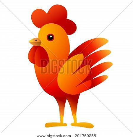 Red Cockerel. Cartoon bird Isolated character. White background. Vector illustration