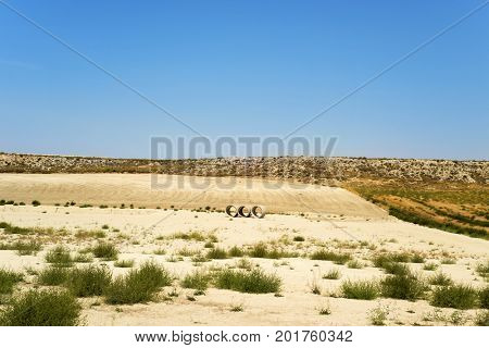 a view of a typical dry landscape of Los Monegros in Aragon, Spain