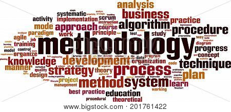 methodology word cloud concept. Vector illustration on white