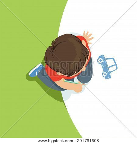Little boy sitting on his knees and drawing a car using blue pencil, top view of child on the floor vector Illustration
