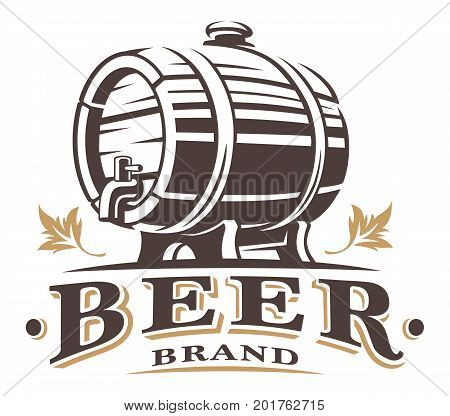 Vintage barrel of beer logo desing om white. Text is on the separate layer.