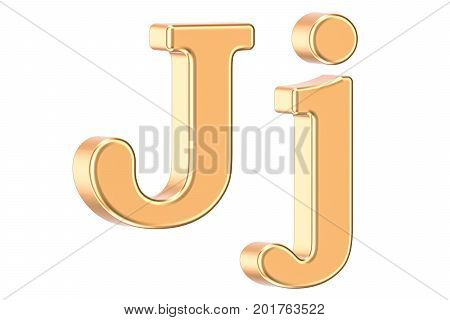 English golden letter J 3D rendering isolated on white background