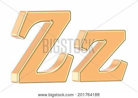 English golden letter Z 3D rendering isolated on white background