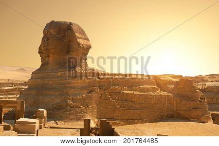 Sphinx in the desert of Giza, Egypt