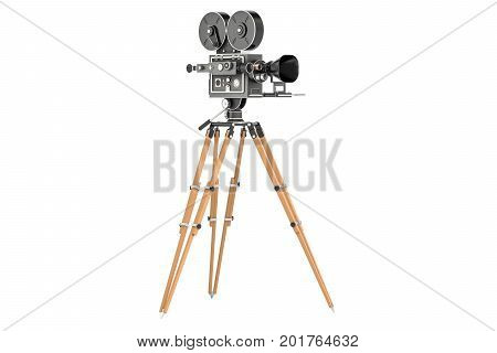 Old movie camera closeup. 3D rendering isolated on white background