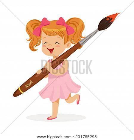 Cute redhead little girl in a pink dress holding giant paintbrush cartoon vector Illustration on a white background