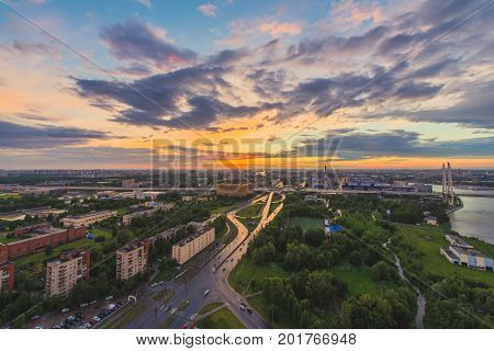 City During Warm Sunset. Saintpetersburg Skyline In Sunset, Russia.