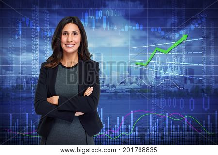 Smiling investor woman.
