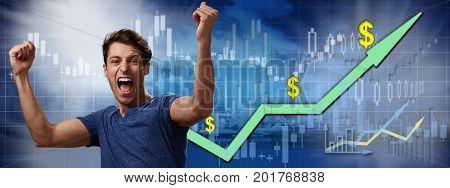Happy investor man.